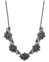 Marchesa - Black Gold-tone Blue Crystal, Bead & Imitation Pearl Statement Necklace - Lyst