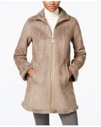 Jones New York - Brown Faux-shearling A-line Walker Coat - Lyst