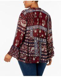Style & Co. - Red Plus Size Floral-print Split-neckline Blouse - Lyst