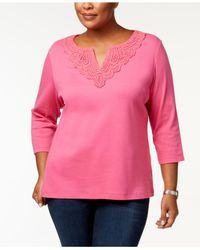 Karen Scott Pink Plus Size Crochet-trim Tunic, Created For Macy's