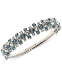Givenchy - Metallic Silver-tone Clear & Blue Crystal Bangle Bracelet - Lyst