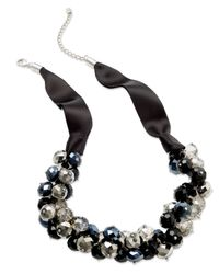 INC International Concepts | Metallic Necklace, Silver-tone Jet Bead Cluster Frontal Necklace | Lyst