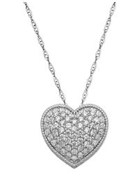 Arabella   Metallic Sterling Silver Necklace, White Swarovski Elements Heart Pendant (2-1/8 Ct. T.w.)   Lyst