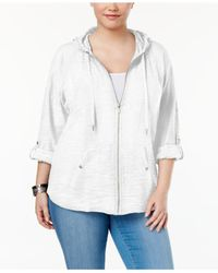 Style & Co. - White Plus Size Zip Hooded Jacket - Lyst