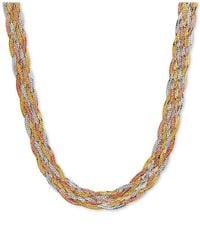 Macy's - Metallic Tri-color Braided Herringbone Statement Necklace In 10k Gold, White Gold & Rose Gold - Lyst