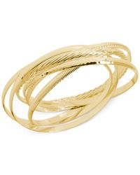 Hint Of Gold - Metallic Textured Bangle Bracelet Set In 14k Gold-plated Brass - Lyst