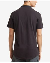 Kenneth Cole Reaction - Black Waffle-knit Band-collar Henley for Men - Lyst
