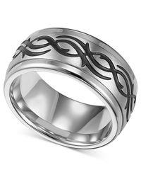 Triton | Men's Stainless Steel Ring, Black Design Wedding Band for Men | Lyst