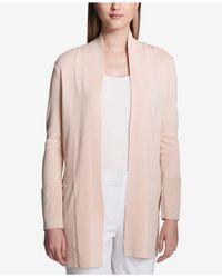CALVIN KLEIN 205W39NYC - Pink Faux-suede-trim Cardigan - Lyst