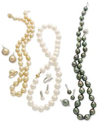 Macy's - Multicolor Pearl Necklace, 14k White Gold Round Tahitian Pearl Strand (9-11mm) - Lyst