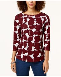 Charter Club - Red Button-shoulder Print Top, Created For Macy's - Lyst
