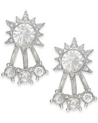 ABS By Allen Schwartz - Metallic Silver-tone Crystal Front-back Stud Earrings - Lyst