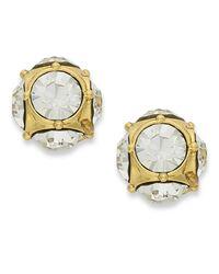kate spade new york | Metallic Earrings, 12k Gold-plated Crystal Stud Earrings | Lyst