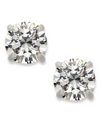 INC International Concepts - Metallic Silver-tone Round Cubic Zirconia Stud Earrings (4 Ct. T.w.) - Lyst