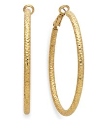 INC International Concepts | Metallic Gold-tone Small Textured Hoop Earrings | Lyst