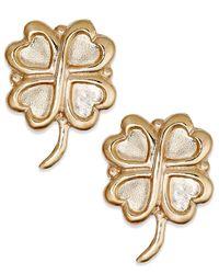 Macy's | Metallic 10k Gold Earrings, Four Leaf Clover Stud Earrings | Lyst
