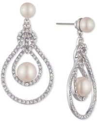 Carolee - White Silver-tone Pave & Imitation Pearl Openwork Drop Earrings - Lyst