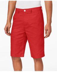 Sean John - Red Linen Shorts, Created For Macy's for Men - Lyst