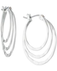 Nine West - Metallic Silver-tone Triple Hoop Earrings - Lyst