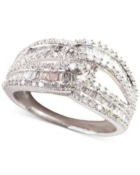 Macy's - Diamond Intersecting Ring (1 Ct. T.w.) In 14k White Gold - Lyst