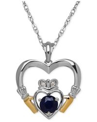 Macy's - Metallic Sapphire (2/3 Ct. T.w.) And Diamond Accent Heart Pendant Necklace In Sterling Silver And 14k Gold - Lyst