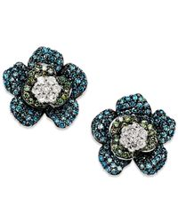 Wrapped in Love - Metallic Blue And Green Diamond (1 Ct. T.w.) Flower Earrings In 14k White Gold - Lyst