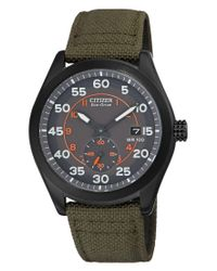 Citizen - Multicolor Men's Eco-drive Dark Green Nylon Strap Watch 43mm Bv1085-22h for Men - Lyst