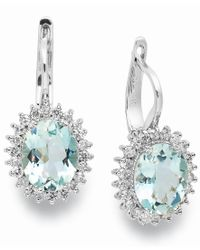 Macy's | Blue 14k White Gold Earrings, Aquamarine (3-3/8 Ct. T.w.) And Diamond (1/2 Ct. T.w.) Leverback Earrings | Lyst