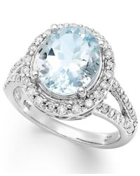 Macy's - Blue 14k White Gold Ring, Aquamarine (3-1/4 Ct. T.w.) And Diamond (1/2 Ct. T.w.) Oval Ring - Lyst