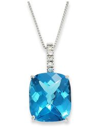 Macy's | 14k White Gold Necklace, Blue Topaz (7 Ct. T.w.) And Diamond Pendant | Lyst