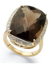 Macy's | Metallic 14k Gold Ring, Smokey Topaz (20 Ct. T.w.) And Diamond (1/5 Ct. T.w.) Large Rectangle Cushion Cut Ring | Lyst