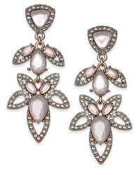 INC International Concepts - I.n.c. Rose Gold-tone Pavé & Pink Stone Openwork Drop Earrings, Created For Macy's - Lyst