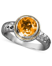 Effy Collection | Metallic Citrine Round Ring (1-5/8 Ct. T.w) In Sterling Silver And 18k Gold | Lyst