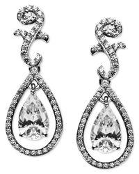 Arabella - Metallic Sterling Silver Earrings, Swarovski Zirconia Teardrop Earrings (9 Ct. T.w.) - Lyst
