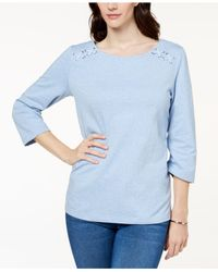 Karen Scott Blue Petite Lace-up Top, Created For Macy's