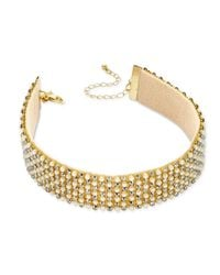INC International Concepts - Metallic Gold-tone Pavé & Pink Imitation Pearl Choker Necklace - Lyst