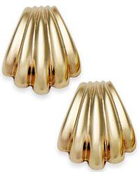 Macy's | Metallic 10k Gold Earrings, Scalloped Shell Stud Earrings | Lyst