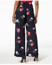 Nine West - Blue Floral-print Wide-leg Pants - Lyst