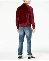 American Rag - Red Men's Velvet Varsity Bomber Jacket for Men - Lyst