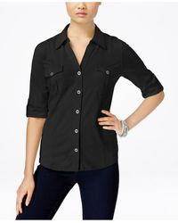 Style & Co. | Black Petite Jersey Utility Shirt, Only At Macy's | Lyst