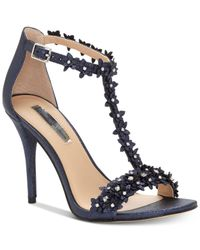 INC International Concepts - Blue Women's Rosiee T-strap Embellished Evening Sandals - Lyst