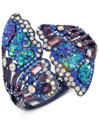 Betsey Johnson - Blue Purple-tone Multicolor Pavé Butterfly Wing Hinged Cuff Bracelet - Lyst