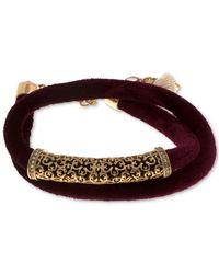 Lonna & Lilly | Multicolor Gold-tone Filigree Velvet Wrap Bracelet | Lyst