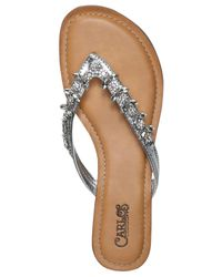 Carlos By Carlos Santana | Metallic Tereza Jeweled Sandals | Lyst