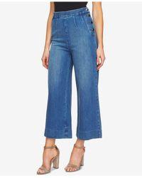 Cece - Blue Cropped Denim Wide Leg Culotte Jeans - Lyst