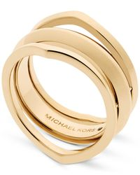 Michael Kors | Metallic Gold-tone Triple Band Ring | Lyst