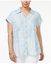 Style & Co. - Blue Plus Size Short-sleeve Denim Shirt - Lyst