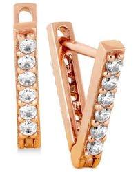 Lucky Brand | Metallic Rose Gold-tone Pavé Triangle Drop Earrings | Lyst
