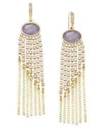 INC International Concepts - Metallic Gold-tone Gray Stone And Crystal Fringe Earrings, Only At Macy's - Lyst