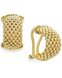 Macy's | Metallic Mesh Hoop Earrings In 14k Gold Over Sterling Silver | Lyst